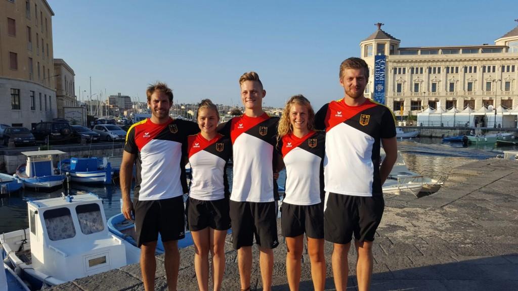 WM in Syrakus (von links nach rechts): Jonas Vieren, Charlotte Dörfler, Felix Fittkau, Caroline Sinsel und Marco Hoppstock