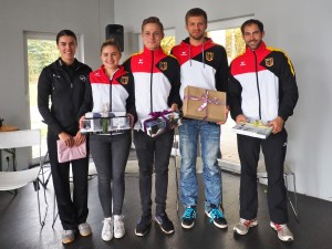 NationalspielerInnen 2016 (von links nach rechts): Jordan Pearse, Charlotte Dörfler, Felix Fittkau, Marco Hoppstock, Jonas Vieren